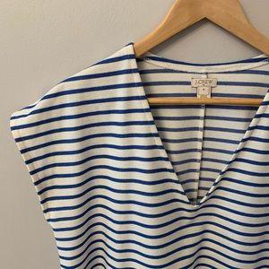 JCrew Factory Blue White Striped V-neck Dress